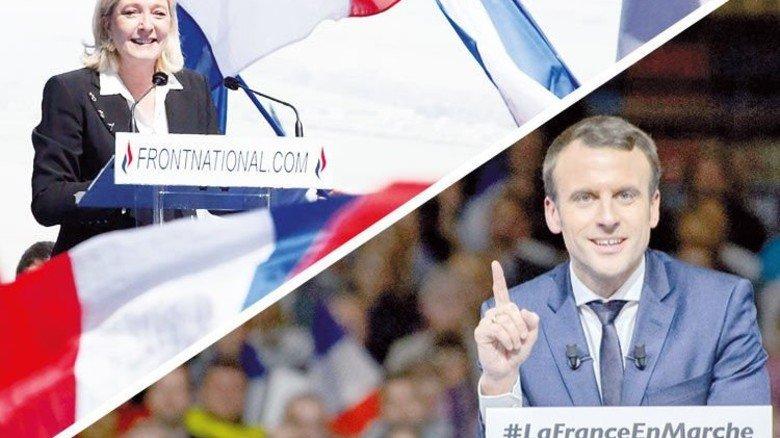 Die Favoriten: Marine Le Pen und Emmanuel Macron. Fotos: dpa
