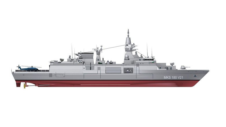 """Stattlich: Das """"MKS 180"""" ist ein Mehrzweckkampfschiff mit circa 160 Meter Länge."""