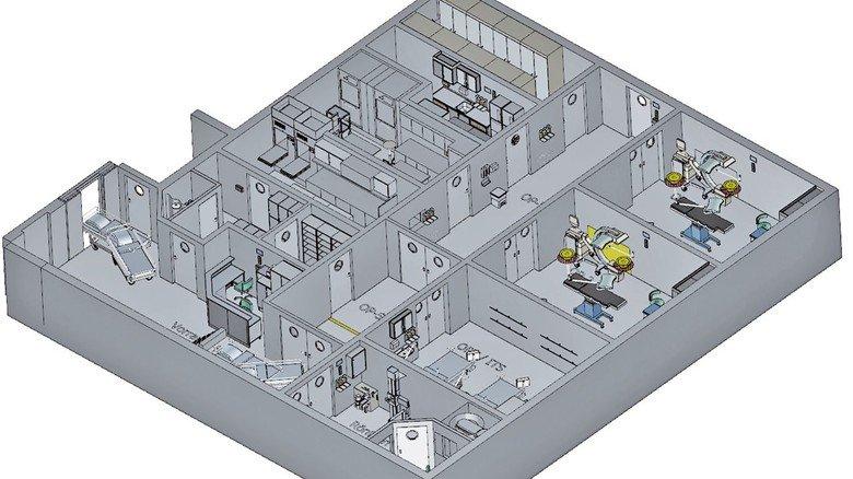 Klinik an Bord: Das integrierte Rettungszentrum ist als festes Deckshaus konzipiert.
