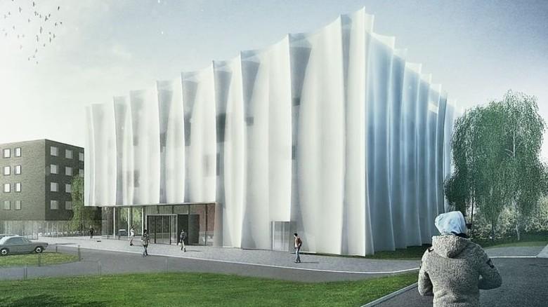 Zukunftsvision: Das Gebäude soll eine Textilfassade bekommen. Illustration: ZiTex