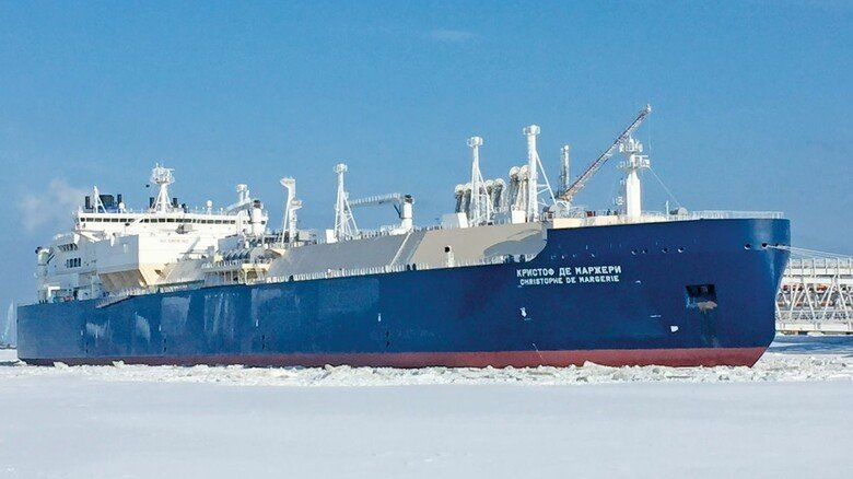 "Riesen-Eisbrecher: Der Tanker ""Christoph de Margerie"" bunkert im sibirischen Sabetta Flüssigerdgas."