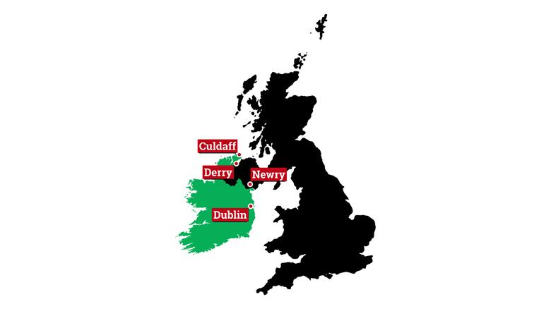 Schwierige Nachbarschaft: Einfach war das Verhältnis zwischen Großbritannien (schwarz auf unserer Karte) und Irland nie. An der Nordirland- Frage könnte sich jetzt gar das Schicksal Europas entscheiden. aktiv hat die Region bereist – und Menschen in Sorge getroffen.
