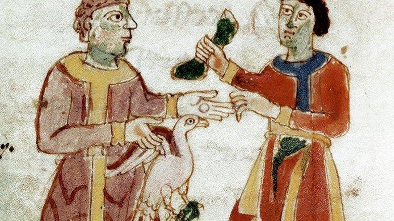 """Einkauf im Mittelalter: Die Frage """"Geht's auch günstiger?"""" bewegt Käufer seit jeher. Foto: dpa"""