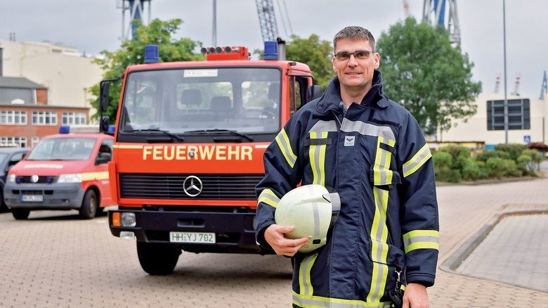 Dienst auf der Werft: Michael Gauger ist Mitglied der Betriebsfeuerwehr bei Blohm+Voss.