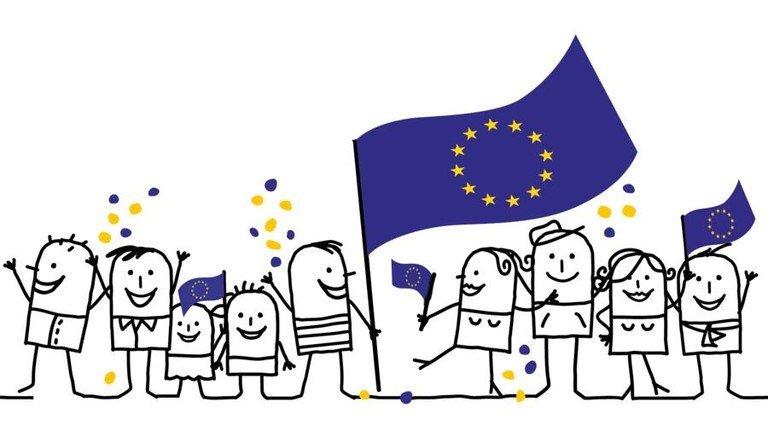 Die EU: Binnenmarkt mit künftig 450 Millionen Menschen in 27 Staaten. Illustration: Adobe Stock; Montage: Lang