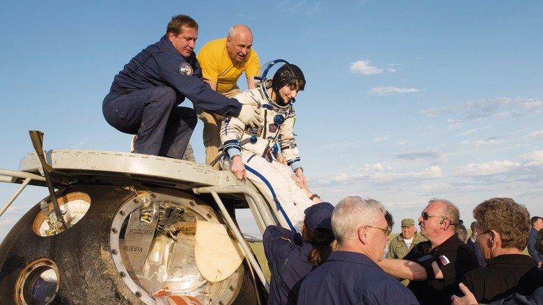 In Kasachstan: Landung nach der ISS-Mission in einer Sojus-Kapsel.