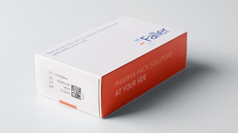 Sicherheitsmerkmale auf der Medizinschachtel: ein Beispiel aus der Firma Faller.