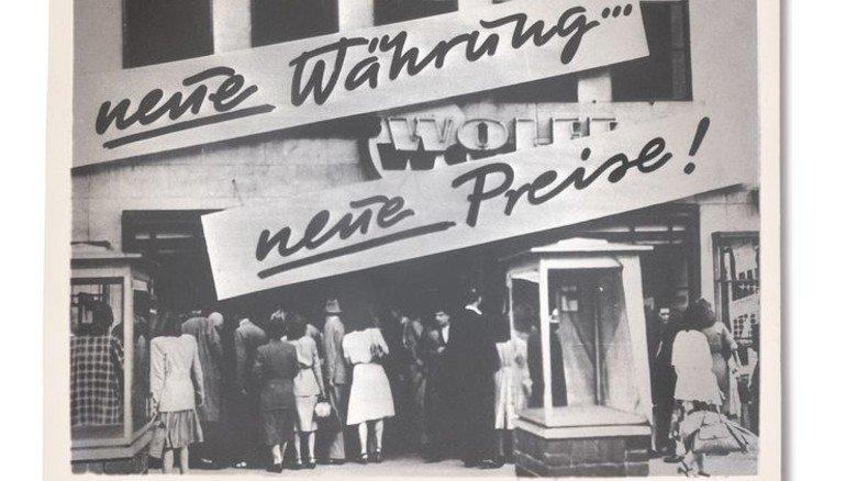 Juni 1948: Ein Kaufhaus in Deutschland einen Tag nach dem Start der D-Mark. Foto: AKG